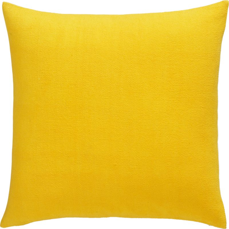 "lounge yellow 23"" pillow with down-alternative insert"