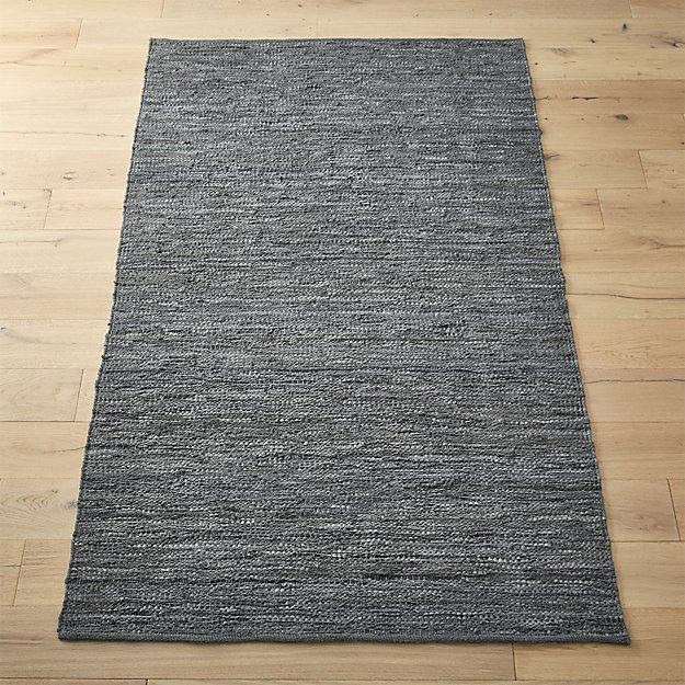 Grey Leather Salvage Rug