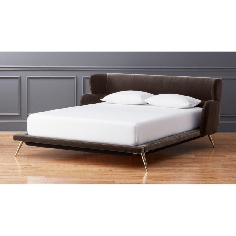lunar grey velvet bed - Modern Bed Frames