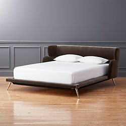lunar grey velvet bed