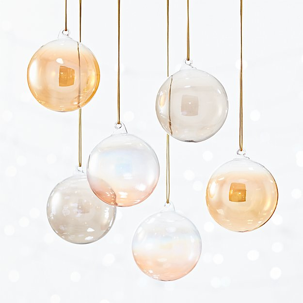 luster ornaments set of 6