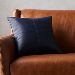 "16"" mac leather pillow with feather-down insert"