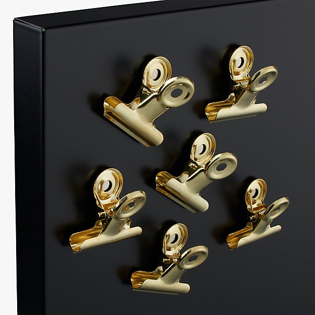 set of 6 magnetic gold clips