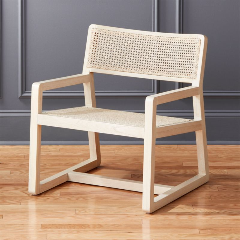 Makan White Wood And Wicker Lounge Chair by Crate&Barrel