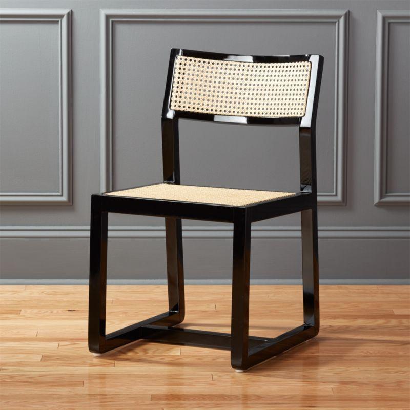 Makan Black Wood And Cane Chair   CB2