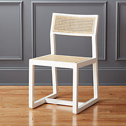 Makan White Wood and Cane Chair