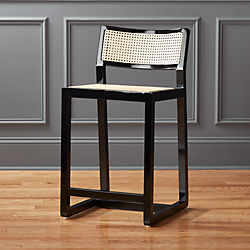 """Makan 24"""" Black Wood and Cane Counter Stool"""