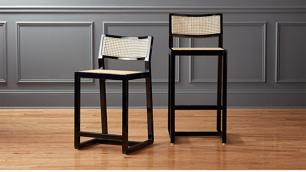Bar Stools For A Bar Part - 46: Makan Black Wood And Cane Bar Stools | CB2