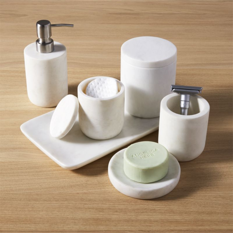 Marble bath accessories cb2 for Bathroom pieces