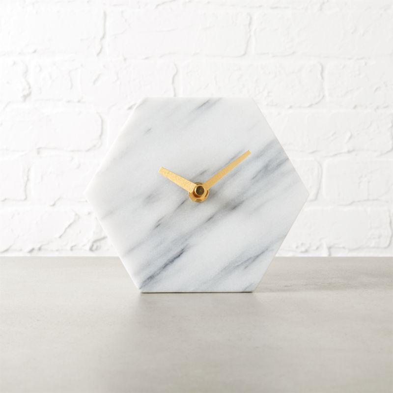 Hex Marble Desk Clock