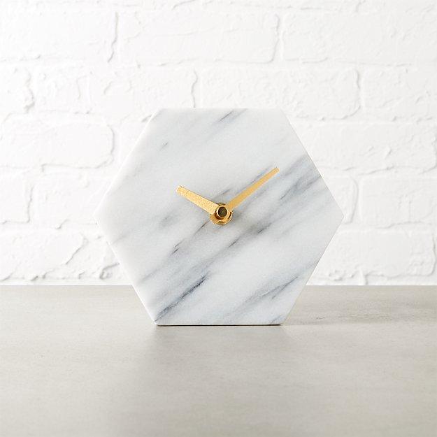 Hex Marble Desk Clock Reviews Cb2