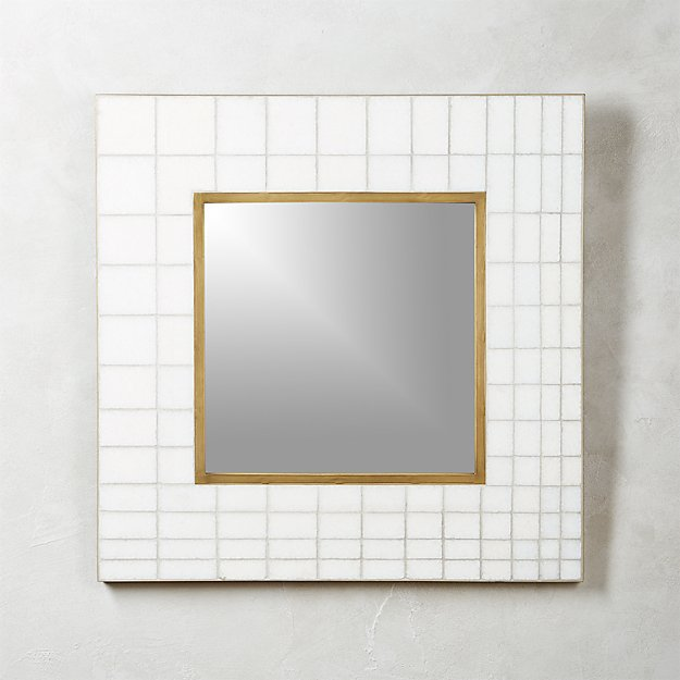 Marble Mosaic Square Wall Mirror 30""