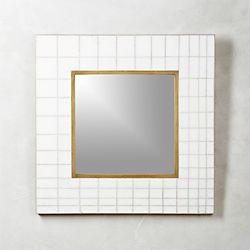 "Marble Mosaic Square Wall Mirror 30"""