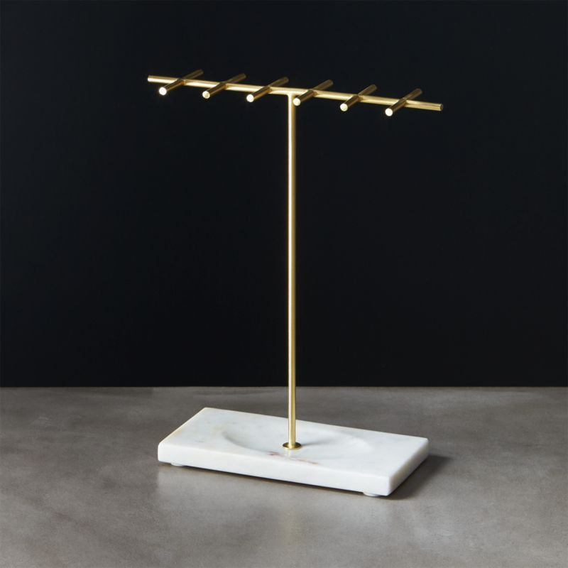 Brass And Marble Jewelry Holder In Storage Accessories