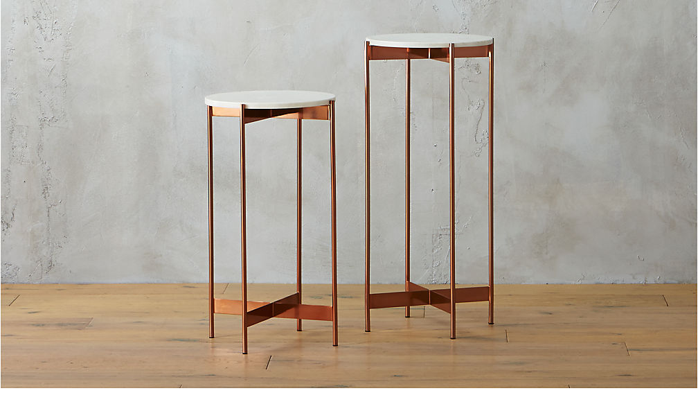 Marble Rose Gold Pedestal Tables | CB2