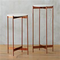 marble-rose gold pedestal tables