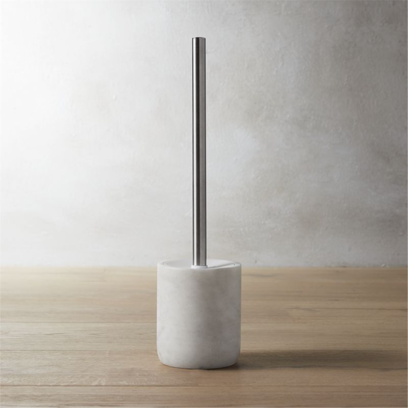 Marble toilet brush reviews cb2 for Marble toilet accessories
