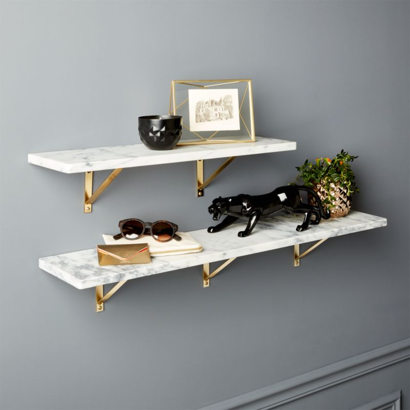 Marble wall mounted shelves cb2 for Find and design tv show