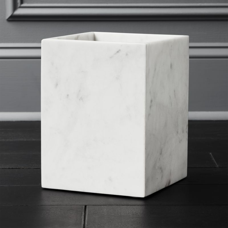 White Marble Wastebasket In Bath Accessories Reviews Cb2