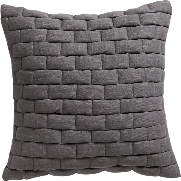 "18"" mason quilted grey pillow with down-alternative insert"
