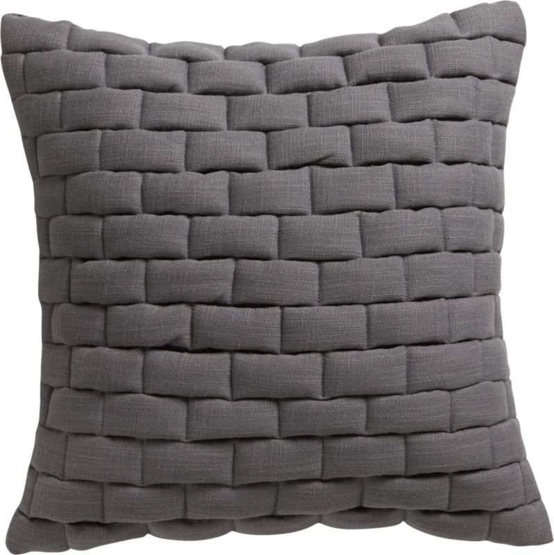 "18"" mason quilted grey pillow with feather-down insert"