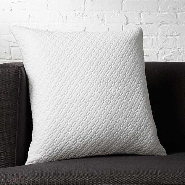 "20"" matelasse white pillow"
