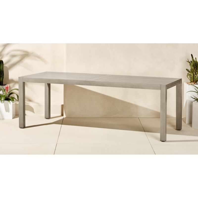 matera large grey outdoor dining table CB2