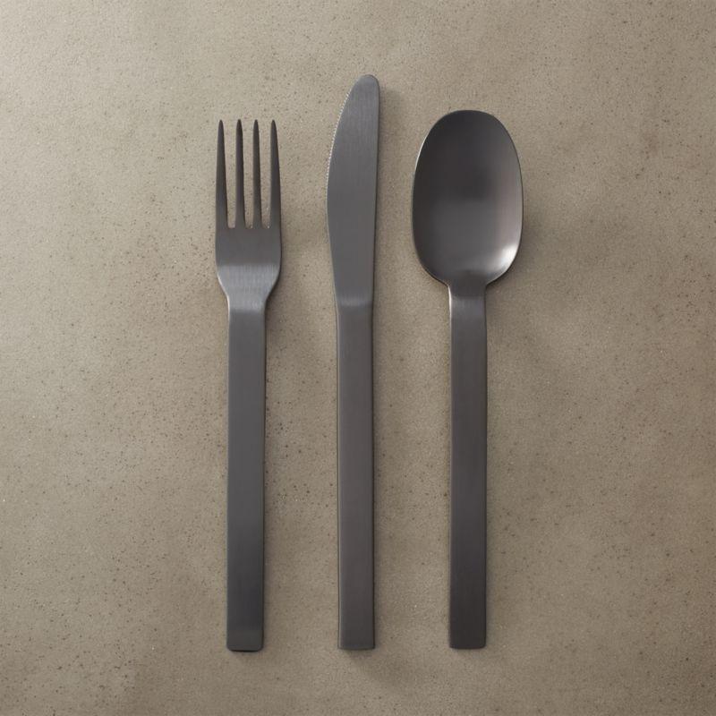 3-piece matte black flatware set