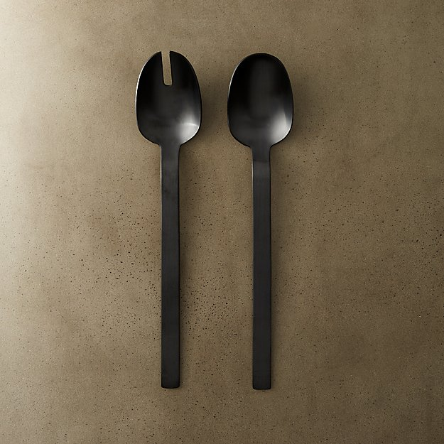 2-piece matte black salad server set