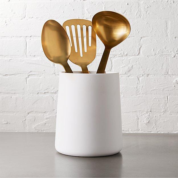 Rustic Kitchen Utensil Holder: Matte White Utensil Holder + Reviews