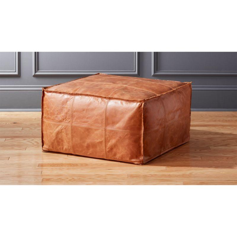 Medium Square Leather OttomanPouf in ottomans poufs stools