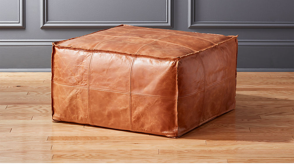 Medium Square Leather Ottoman Pouf Reviews Cb2