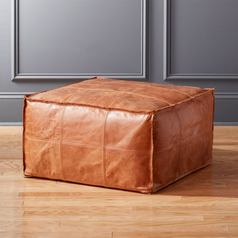 Medium Square Leather Ottoman Pouf by Crate&Barrel