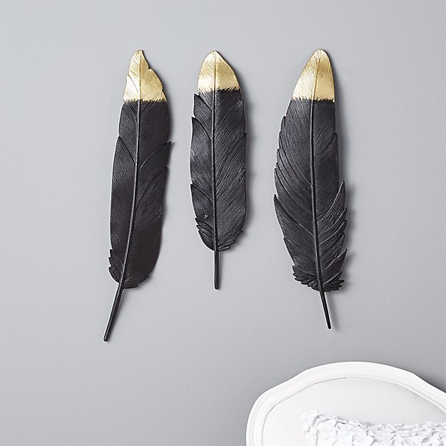 set of 3 metal feathers