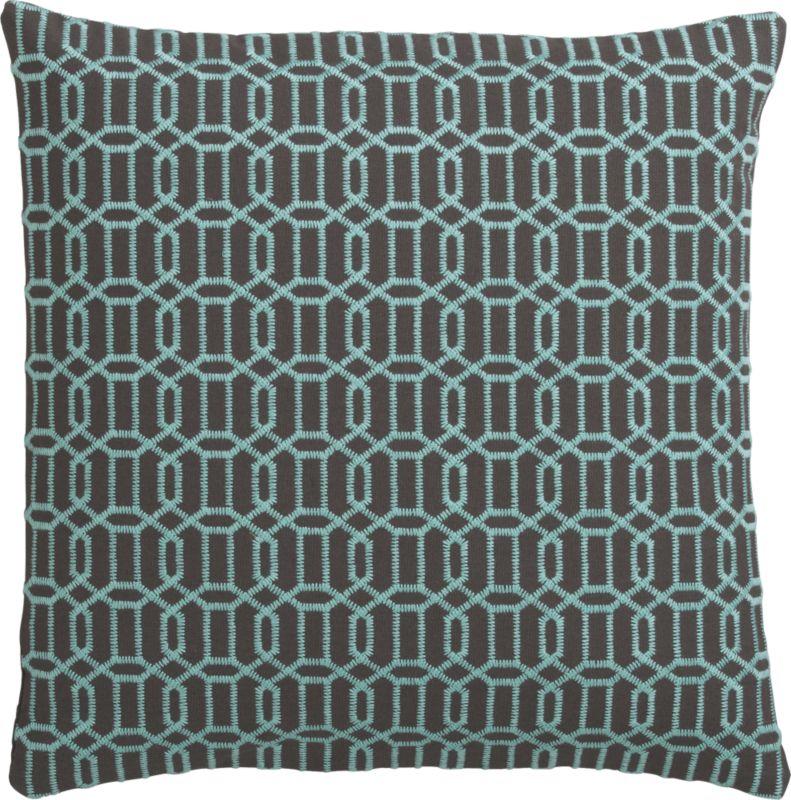 "mingle aqua-shadow 18"" pillow with down-alternative insert"