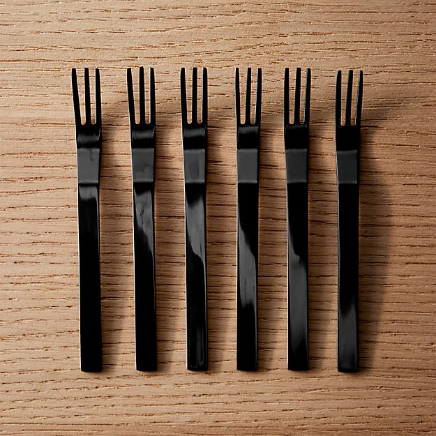 set of 6 mini black cocktail forks