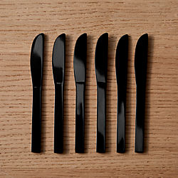 set of 6 mini black cocktail spreaders