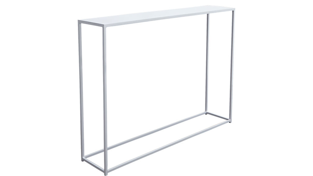mill mini white console table + reviews | cb2