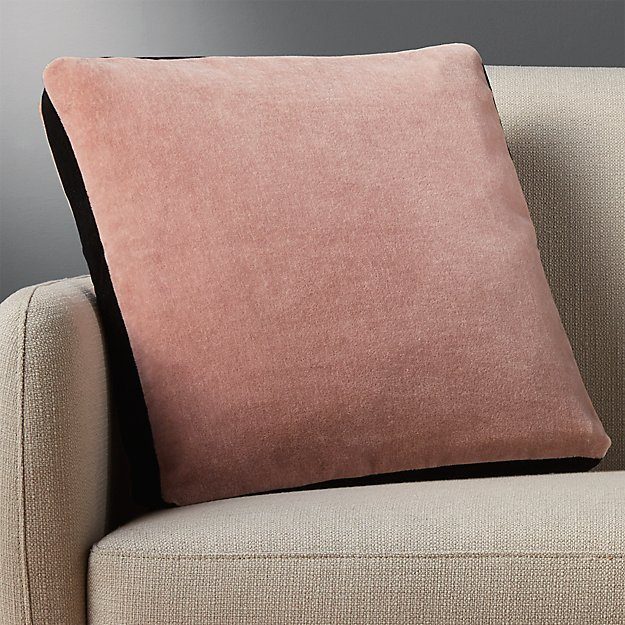 "18"" mohair pink pillow with feather-down insert"