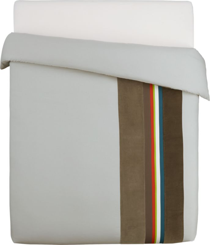 "<span class=""copyHeader"">borderline.</span> Laid-back luxe falls in line with textured bands of rich, warm neutrals. In an asymmetrical sweep, thick velvety stripes of dark and light grey border a bright spectrum of dark grey velvet, blue green cotton, white, sour apple, orange, dark brown and light grey velvet on natural. 200-thread-count cotton/linen duvet has nonslip corner ties and hidden button closure. Reverse to solid natural.<br /><br /><NEWTAG/><ul><li>Cotton/linen blend in natural</li><li>200 thread count</li><li>Duvet has nonslip corner ties and hidden button closures</li><li>Reverses to solid natural</li><li>Machine wash</li></ul>"