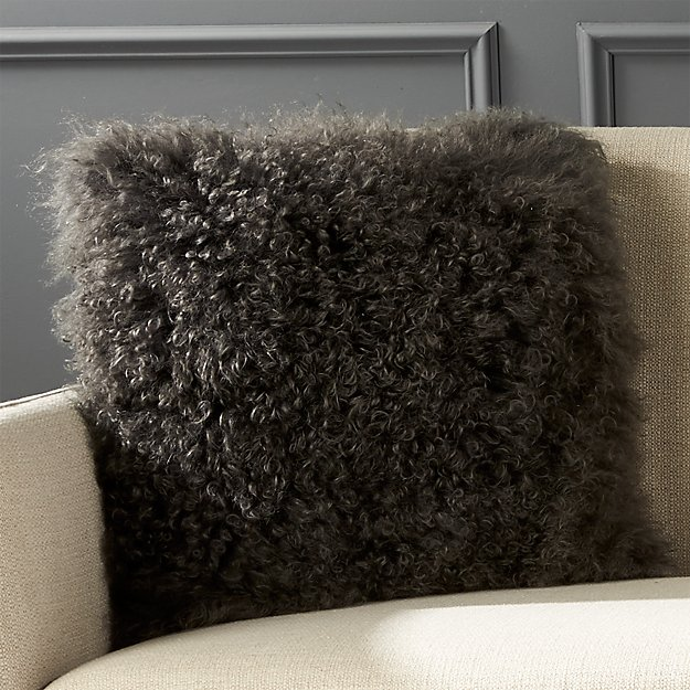"""16"""" Mongolian Carbon Sheepskin Pillow with Feather-Down Insert"""