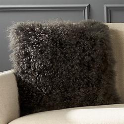 "16"" Mongolian Carbon Sheepskin Pillow with Down-Alternative Insert"