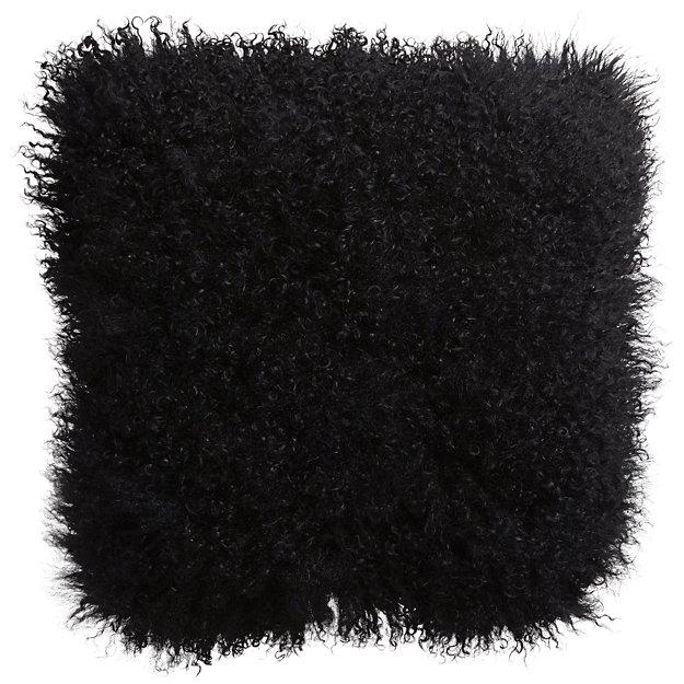 """16"""" mongolian sheepskin black pillow"""