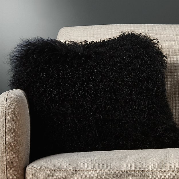 "16"" mongolian sheepskin black pillow with down-alternative insert"