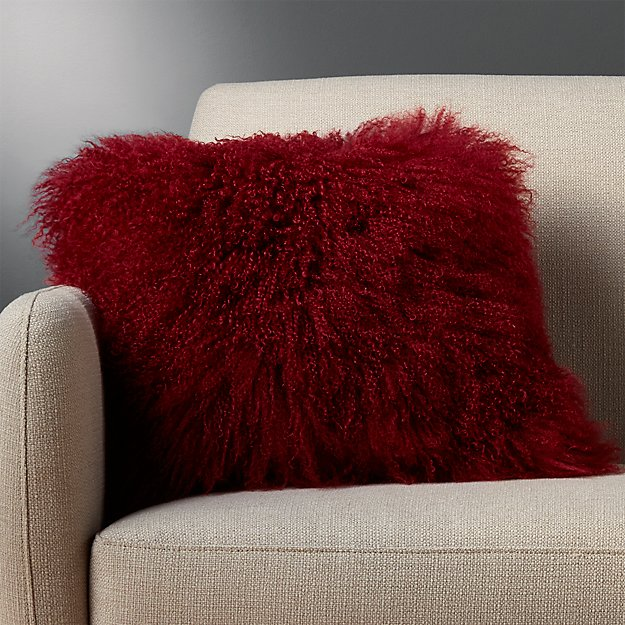 """16"""" mongolian sheepskin maroon pillow with feather-down insert"""