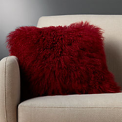 "16"" mongolian sheepskin maroon pillow"