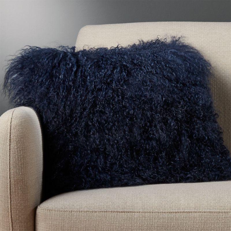 16 Quot Mongolian Sheepskin Blue Fuzzy Pillow Cb2
