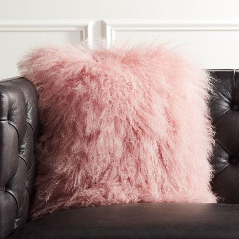 16 Quot Mongolian Sheepskin Pink Fur Pillow Cb2