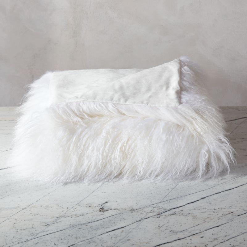 Mongolian Sheepskin White Throw + Reviews