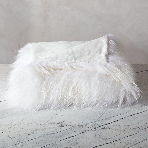 Mongolian Sheepskin White Throw Cb2
